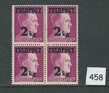 Mint stamp block / Adolph Hitler / Overprint 2Kg / MNH Block / 1944 / Feldpost