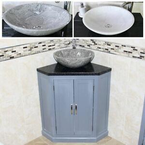 Grey Painted Bathroom Vanity Free Standing Corner Cabinet Black Quartz Marble