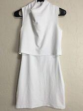 XSmall Topshop White Terry Popover Cowl Neck Sleeveless Rear Zip Dress EUC 7827