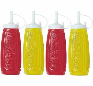 4 Pcs Sauce Dispenser Bottles Tomato Ketchup Mustard Mayo Cafe Food BBQ Plastic