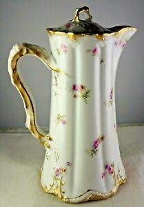 Antique Theo. Haviland Limoges Porcelain Chocolate Pot w/Lid Double Gold Flowers