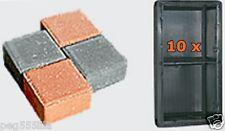 10 Gießformen für 20 Steine 10x10x6cm Schalungen für Rechteckpflaster 261/3