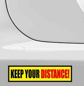 KEEP YOUR DISTANCE Classic Retro Van Car Bumper Sticker 9494 50mm x 200mm