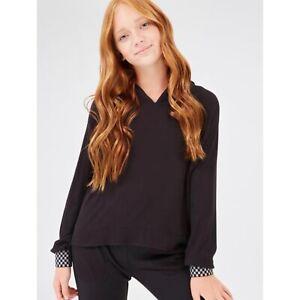 Terez Girl's XL  Waffle Hoodie Sweatshirt Contrast Cuffs Black Comfy