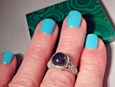 2.45 Ct. Round Cabochon Black Opal Bezel Filigree Sterling Silver Ring Free Sz