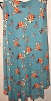 BP Nordstrom Women's NWT Floral Print Hi Lo Midi Length Skirt Teal Large MSRP$45