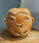 1955 McCoy Pottery Orange Jack-O-Lantern /Pumpkin Cookie Jar With Lid