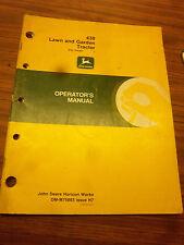 John Deere 430 Lawn~Garden Tractor Operators Manual~Maintenance~Operat ion~1987