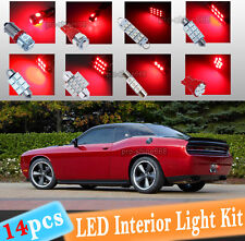 14-pc Red LED Interior Light Bulbs Package Kit Fit 2008-2015 Dodge Challenger