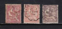 France stamps #133 - 135, used, w/ shade,  nice cancels, SCV $15.50