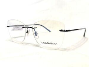 NEW Dolce & Gabbana DG1299 01 Women's Black Rimless Rx Eyeglasses Frames 56/15