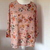 Laura Ashley Peach Orange Floral Oversized Floaty Blouse 3/4 Sleeves Size 12