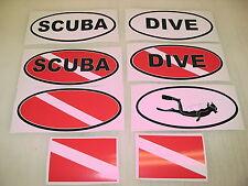 Black SCUBA DIVE FLAG OVAL Sticker Decal LOT 4 boat car Window Truck Tank
