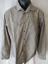 Van Heusen Cotton Blend 15 1/2 32/33 Size M Taupe Plaid Dress Shirt SR $60 NEW