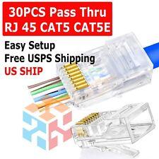 30pcs EZ RJ45 Pass Through Modular Plug Network Cable Connector End 8P8C CAT6