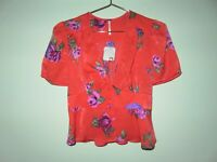 NEW Free People Womens Red Floral V-Neck Short Puff Sleeve Blouse Top X-Small XS