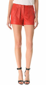 Girls Red Leather Shorts Genuine Lambskin Christmas Party Wear Sexy Pants WS10