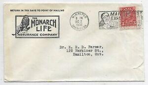Advert. Cover THE MONARCH LIFE ASSURANCE COMPANY, Winnipeg Manitoba Circa 1932