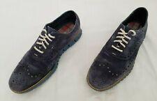 Mens Size 8M Blue Cole Haan Zerogrand Suede Leather Oxfords Wingtip Dress Shoes