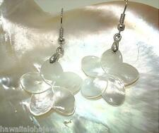 25mm Hawaiian White Mother of Pearl Shell Plumeria Flower Dangling Hook Earrings