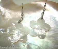25mm White Mother of Pearl Hawaiian Plumeria Flower Dangling 316L Hook Earrings