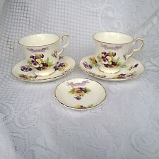 5 Piece 'O.O.R.P.' Pansies Tea Cup, Saucer & Small Plate Royal Windsor (225)