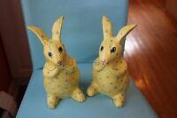 Pair Vintage Papier Mache Easter Bunny Figures