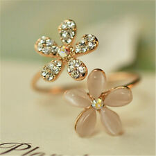 Plated Rhinestone Daisy Finger Decor Opening Five Flower Ring Adjustable