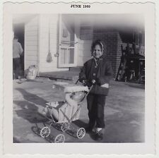 VINTAGE Square 60s PHOTO Little GIRL w/ Baby Buggy & Doll