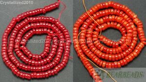 "Natural Coral Gemstone 2mm x 4mm Heishi Orange Red Loose Spacer Crafts Beads 16"""