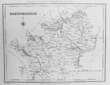 Old Antique Map Hertfordshire c1830's for Lewis by Creighton / Walker Engraving