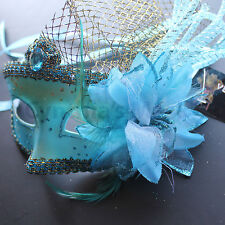 Aqua Venetian Floral Specked  Masquerade Mask 5Q5A for Party $ Display