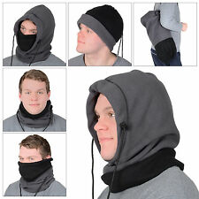 Mens 6 In 1 Grey Polar Fleece Hood Snood Balaclava Neck Ski Hat Scarf Mask