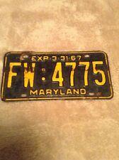 Vintage Maryland License Plate 1967