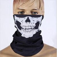 Men's Sports Black Skull Face Tube Mask Neck Gaiter Dust Shield Seamless Bandana