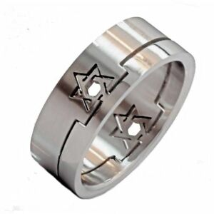8mm Star Of David 2 Part Puzzle Ring Surgical Steel 316L Stainless Steel