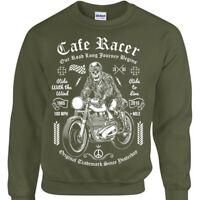 Cafe Racer Felpa Uomo Donna Biker Rock Teschio Motocicletta Moto Regalo Maglione