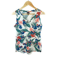 Patagonia Womens White Blue Pink Floral Organic Cotton Top Tee Size Small S