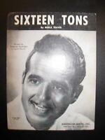 Sixteen Tons Sheet Music Vintage 1947 Ernie Ford Merle Travis Voice Piano (O)