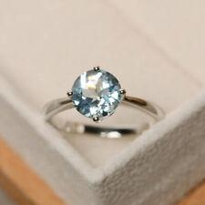 2.00 Ct Round Cut Aquamarine Engagement Ring 925 White Gold Finish Size M N O P