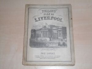 1860s Philips Plan Of Liverpool Fold-Out Paper Map Size 22insx14in