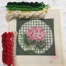 Hand Painted Needlepoint Canvas Kit Persian Wool Yarn Begonia Floral Green Plaid