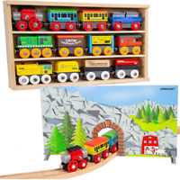 Wooden Train Set 12 Magnetic Wood Train Cars Thomas Brio Toy for Kids