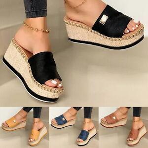 Womens Thick Platform Slippers Peep Toe Sandals Wedge High Heels Mules Summer