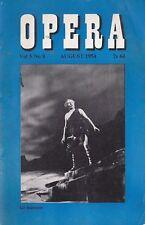 Opera Magazine 1954 Aug : SET SVANHOLM, GIUSEPPE VERTECCHI, TITO GOBBI