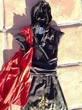 Samurai Warrior Ninja black Dress w. Hood, red sash: costume size 10 girl