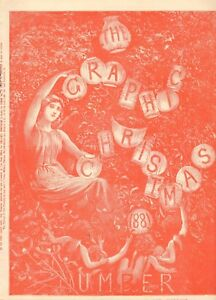 1881  ANTIQUE PRINT- COVER FOR GRAPHIC CHRISTMAS NUMBER