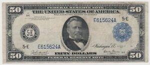 Large size note 1914 FRN $50 fifty dollar bill Richmond f-1041 higher grade