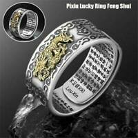 Pixiu Charms Feng-Shui Amulet Wealth Lucky Open Adjustable Ring Buddhist Jewelry