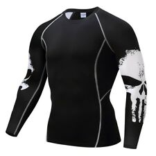 Mens compression top gym crossfit MMA Skull Cycling muscle Punisher high quality